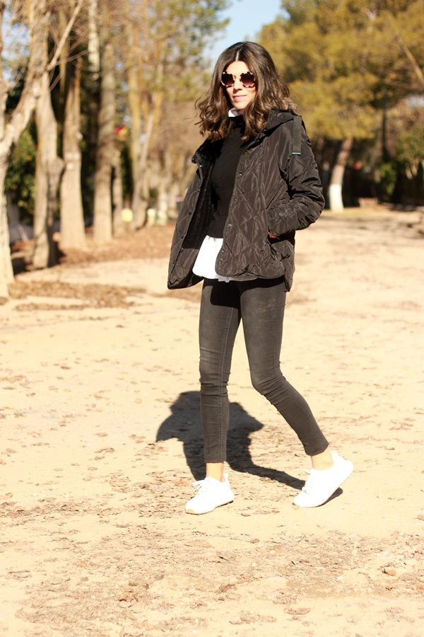 look casual, look diario, chaqueta acolchada, chaqueta guateada