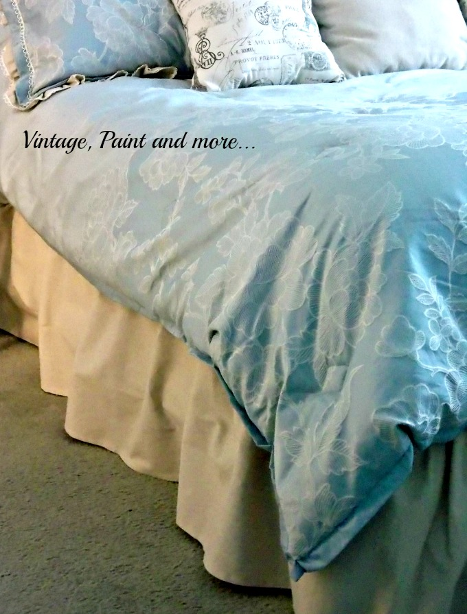 Updated Master Bed - drop cloth fabric used to embellish a store bought comforter set