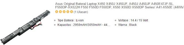harga baterai laptop asus x550 series dan a450 series