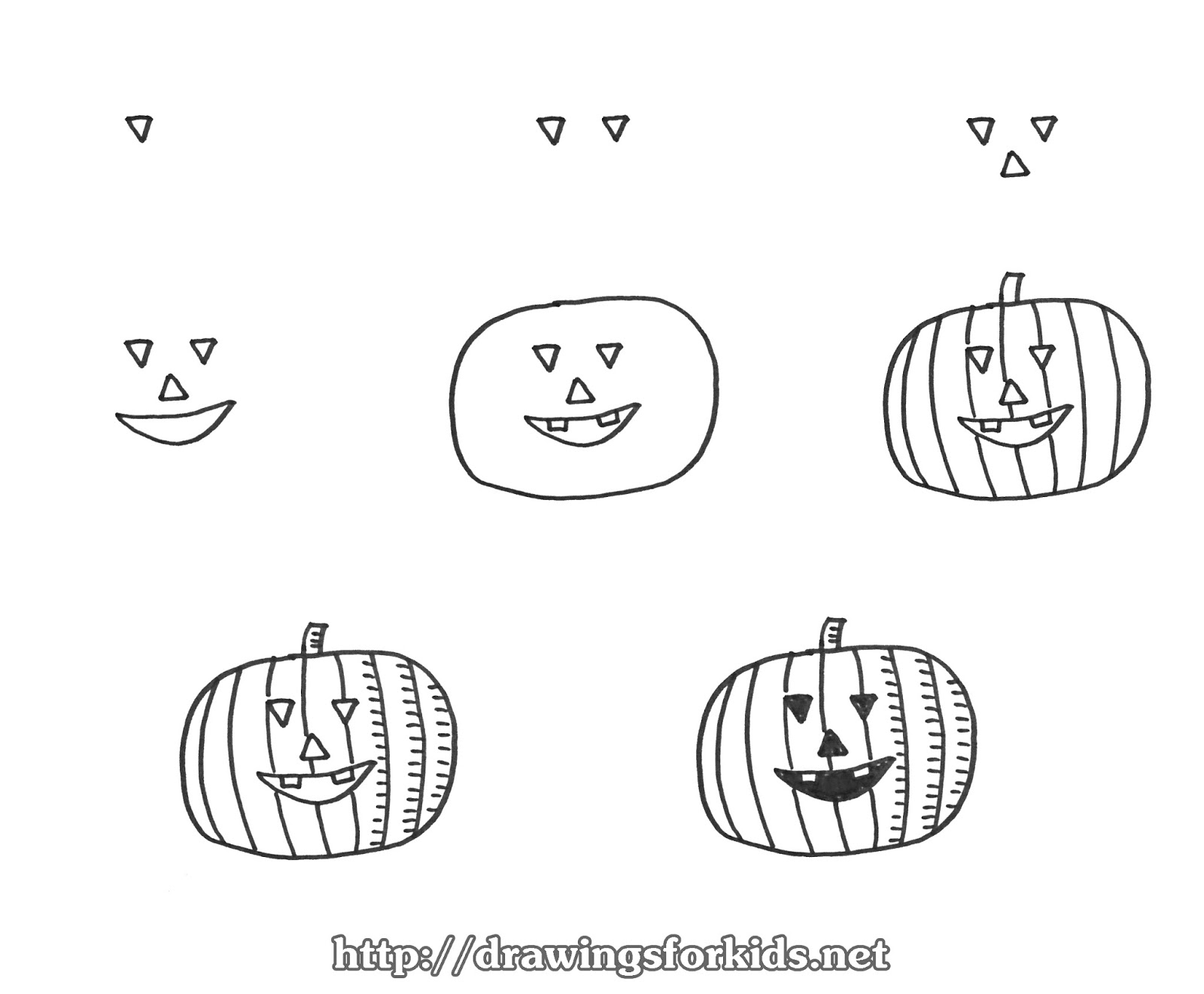 how to draw a pumpkin step by step for halloween