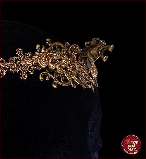 couronne loup bronze medievale fantastique bijouterie stark winterfelle mythologie fenrir wolf crown medieval circlet king queen renaissance