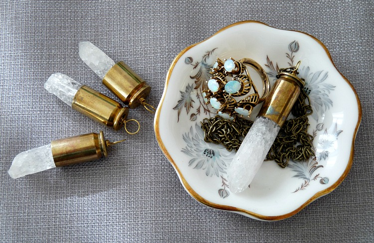 DIY crystal and shell casing pendants