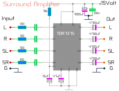 Surround Amplifier Circuit using TDA7375