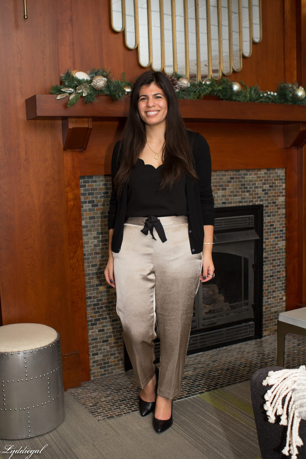 Satin Pants with a scalloped cami and black pumps for a holiday party