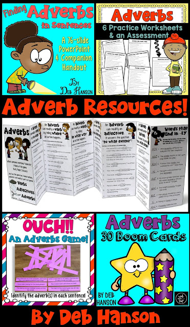 Teaching about Adverbs! This bundle of resources includes a PowerPoint, worksheets, a foldable reference guide, a game, and digital task cards!