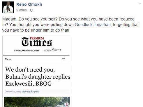 """Reno Omokri mocks Ezekwesili after Hadiza Buhari says """"we don't need your help"""""""