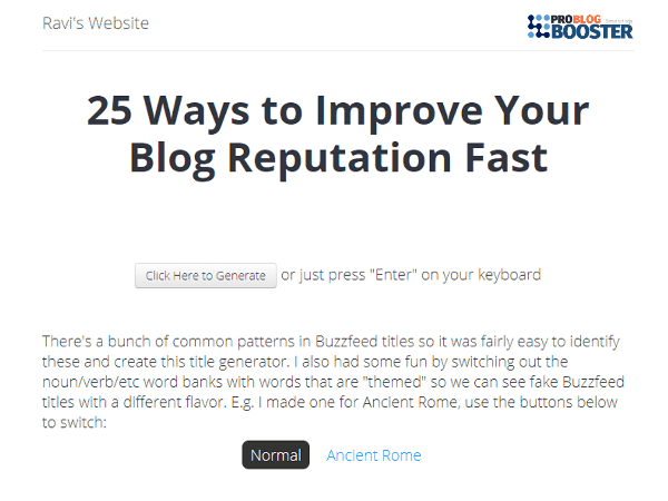 Buzzfeed Blog Title Generator
