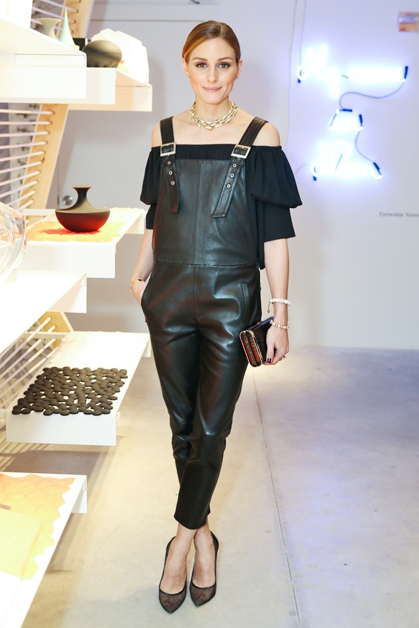 olivia palermo leather overalls style
