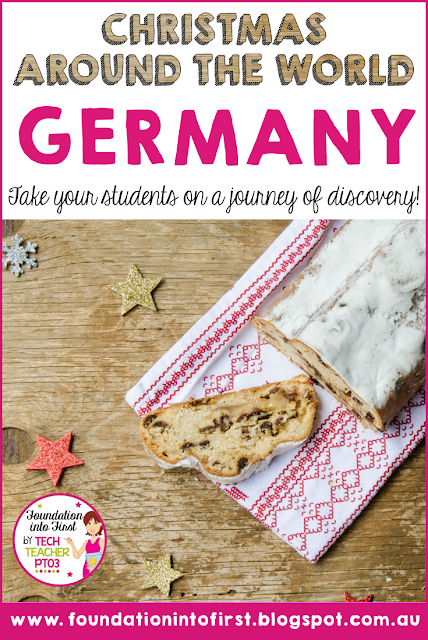 Christmas around the world. Take your students to Germany by exploring German culture and traditions at this special holiday time. #foundationintofirst #techteacherpto3 #germany #christmas #geography #socialstudies