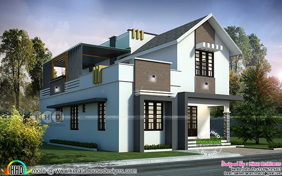 Minar architects presents a sloping roof 4 bedroom home