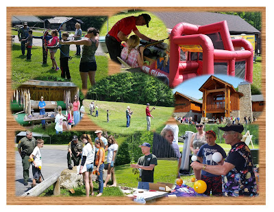 Collage of activities at PA Lumber Museum Youth Field Day