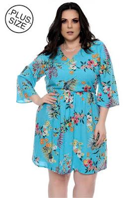 Vestido Plus Size Azul Flores