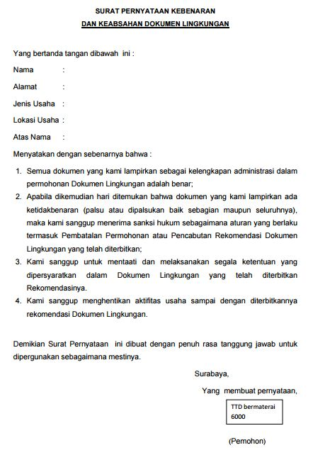 Contoh Surat Pernyataan Kebenaran Dan Keabsahan Dokumen Lingkungan