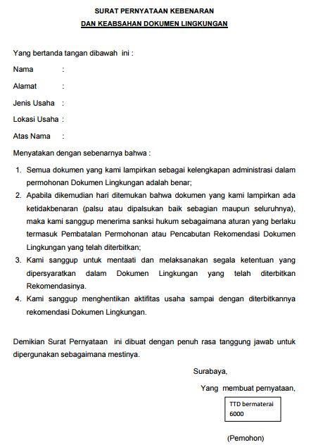 Contoh Surat Pernyataan Kebenaran dan Keabsahan Dokumen Lingkungan Maret 2017