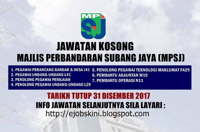 Jawatan Kosong Perbandaran Subang Jaya Mpsj 31 Disember 2017