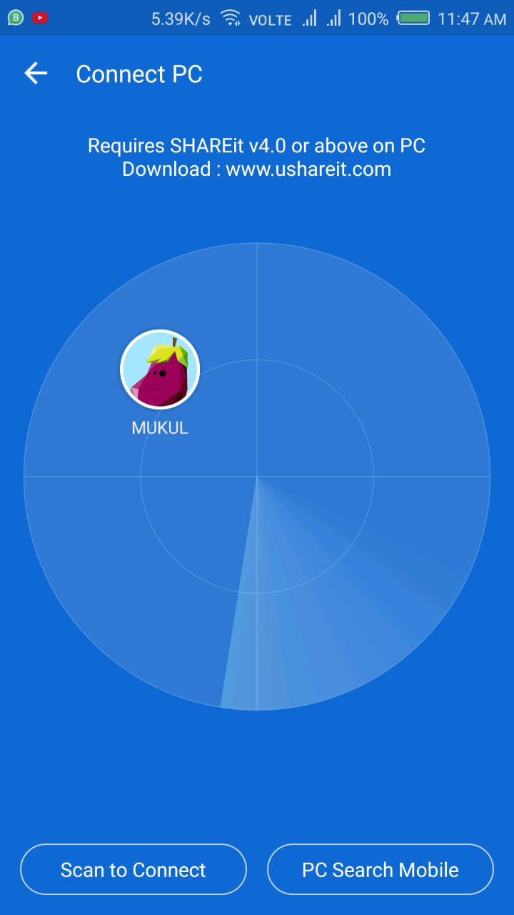 Shareit Network Connection on PC