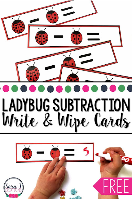 Ladybug subtraction write and wipe cards freebie