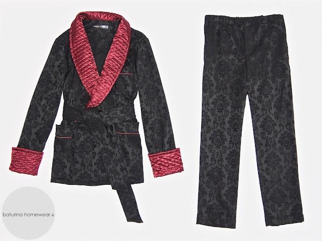 Herren Hausjacke Morgenmantel Pyjama Schlafanzug englisch Baumwolle Seide Luxus Hausmantel Pyjamahose lang warm edel elegant Luxus