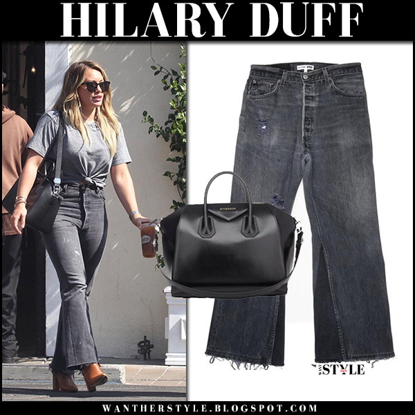 Hilary Duff in grey t-shirt, grey flared jeans and brown boots celebrities in redone jeans august 30 2017