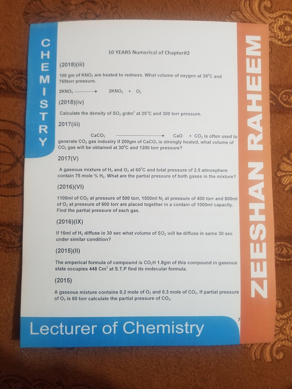 Chapter 2 Class First Year 10 Year Numericals For Chemistry