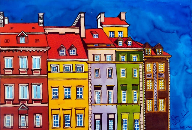Houses in the Oldtown of Warsaw. Painting by Dora Hathazi Mendes, Karavella Atelier