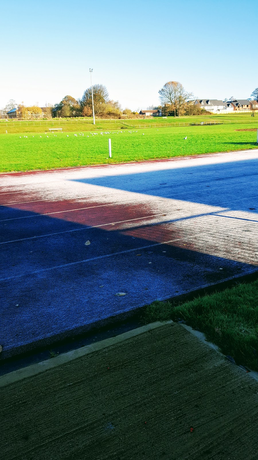 Running track covered in frost
