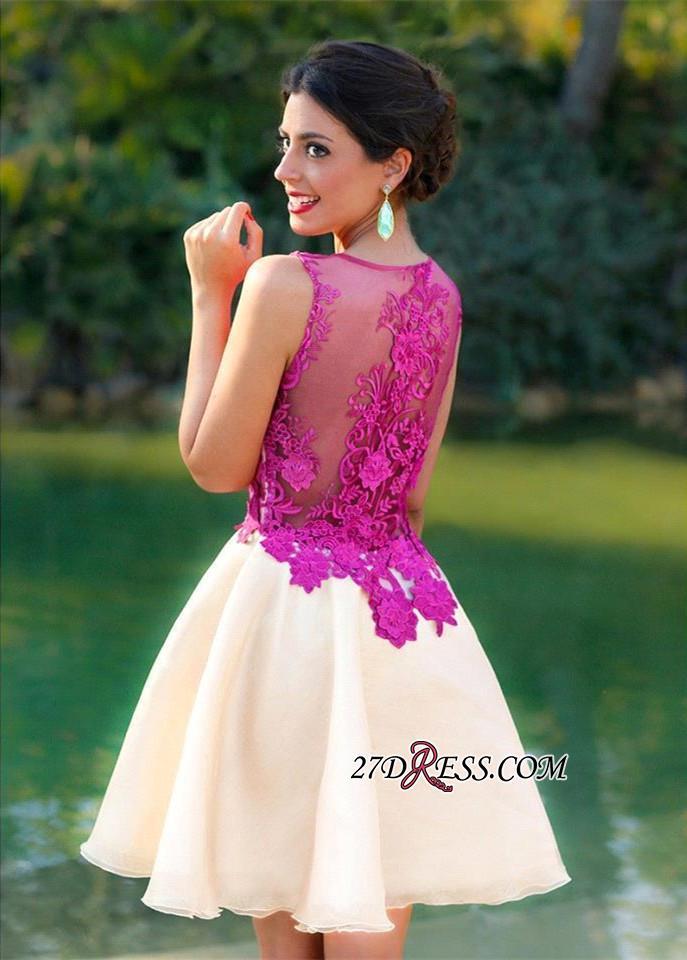 Short Sleeveless Fuchsia lovely Appliques Chiffon Lace Homecoming Dress