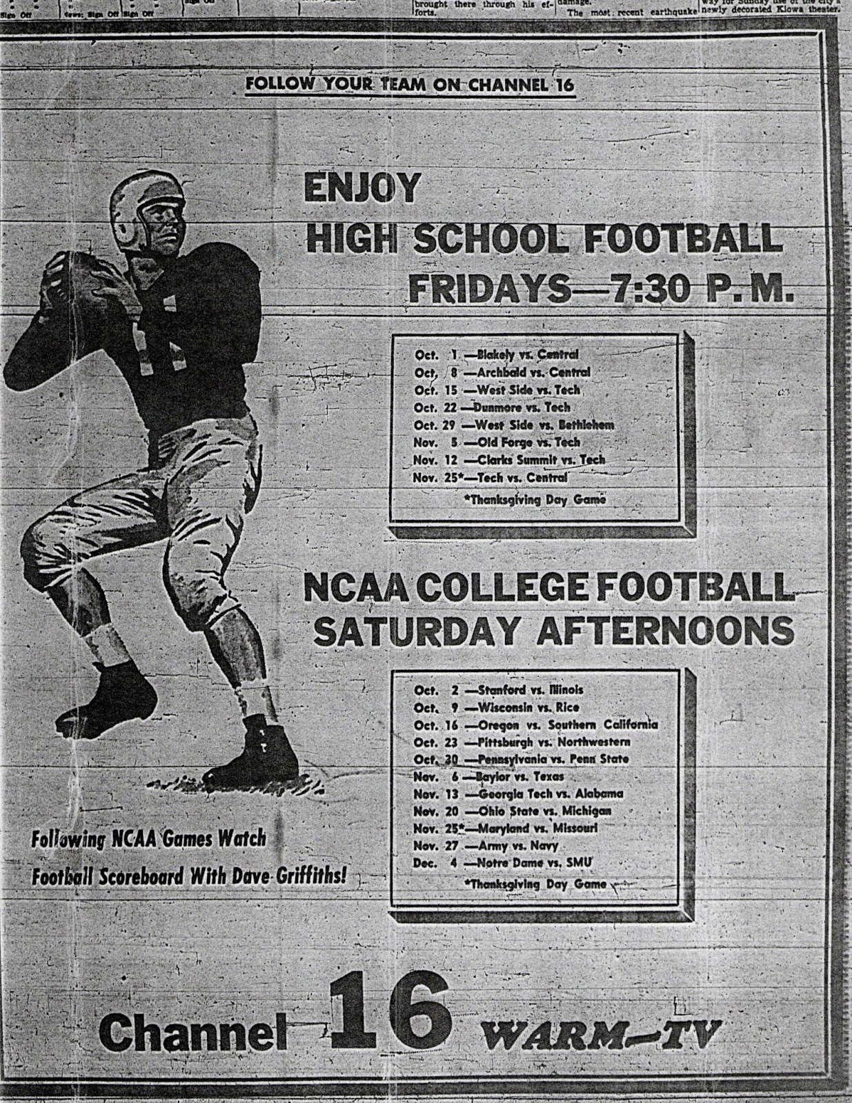 Plus WARM Tapped Into The ABC TV Networks Growing Later To Become Storied NCAA College Football Saturdays Here Are Two Ads From Fall Of 54