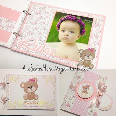 livro álbum de mensagens scrapbook convite artesanal aniversário personalizado ursinha floral delicado rosa bebê menina 1 aninho