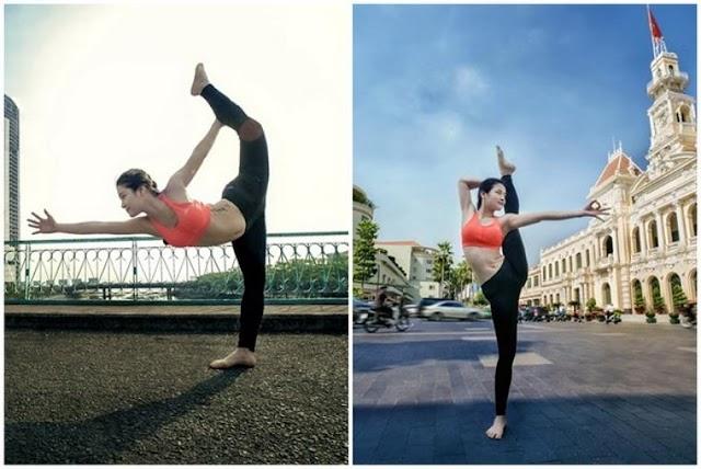 Phương Trinh Jolie tập yoga khắp Sài Gòn