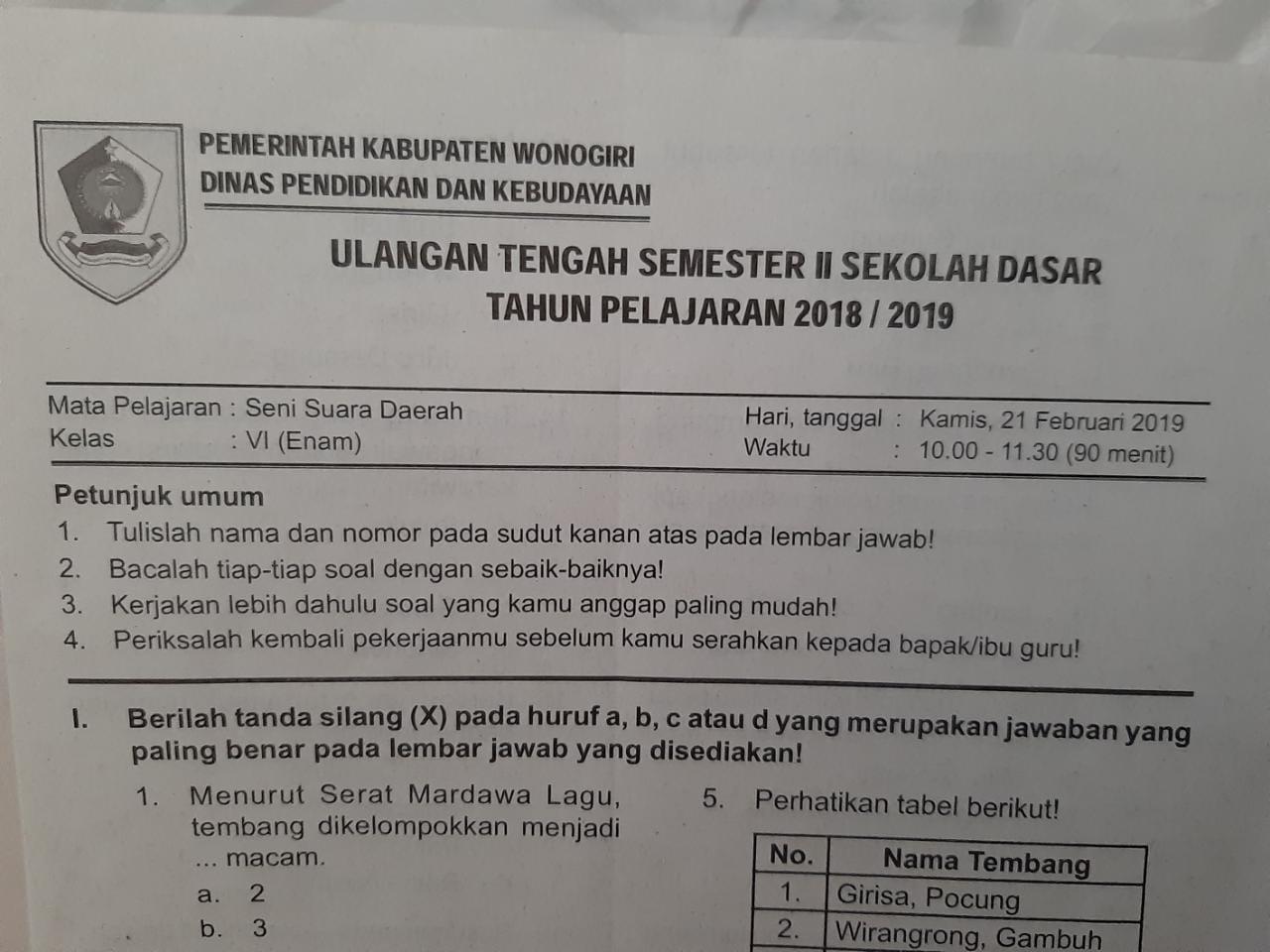 Soal Uts Ssd Kelas 6 Semester 2 Tahun Ajaran 2018 2019 Sekolah Dasar Islam