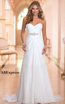 Vestido de novia en gasa como recubrimiento y forro de satén