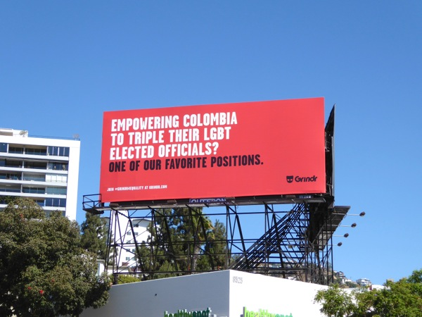 Grindr Colombia LGBT officials billboard