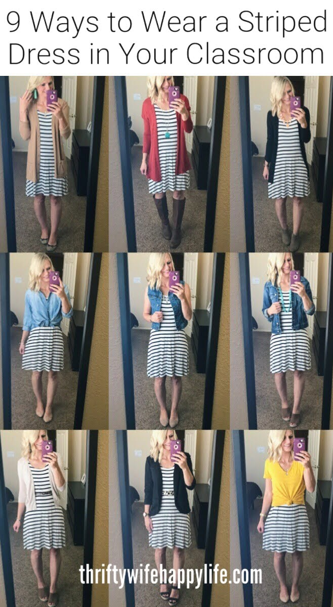 Teacher Outfites- 9 Ways to Wear a Striped Dress in your classroom