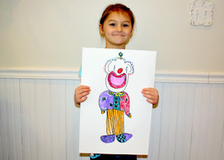 Tessa's completed clown is a happy fellow! I especially like his rainbow hair.
