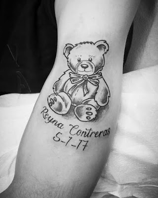 teddy bear tattoo with names