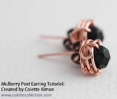 Wire Wrapped Copper Stud Earrings Tutorial - The Beading Gem\'s Journal