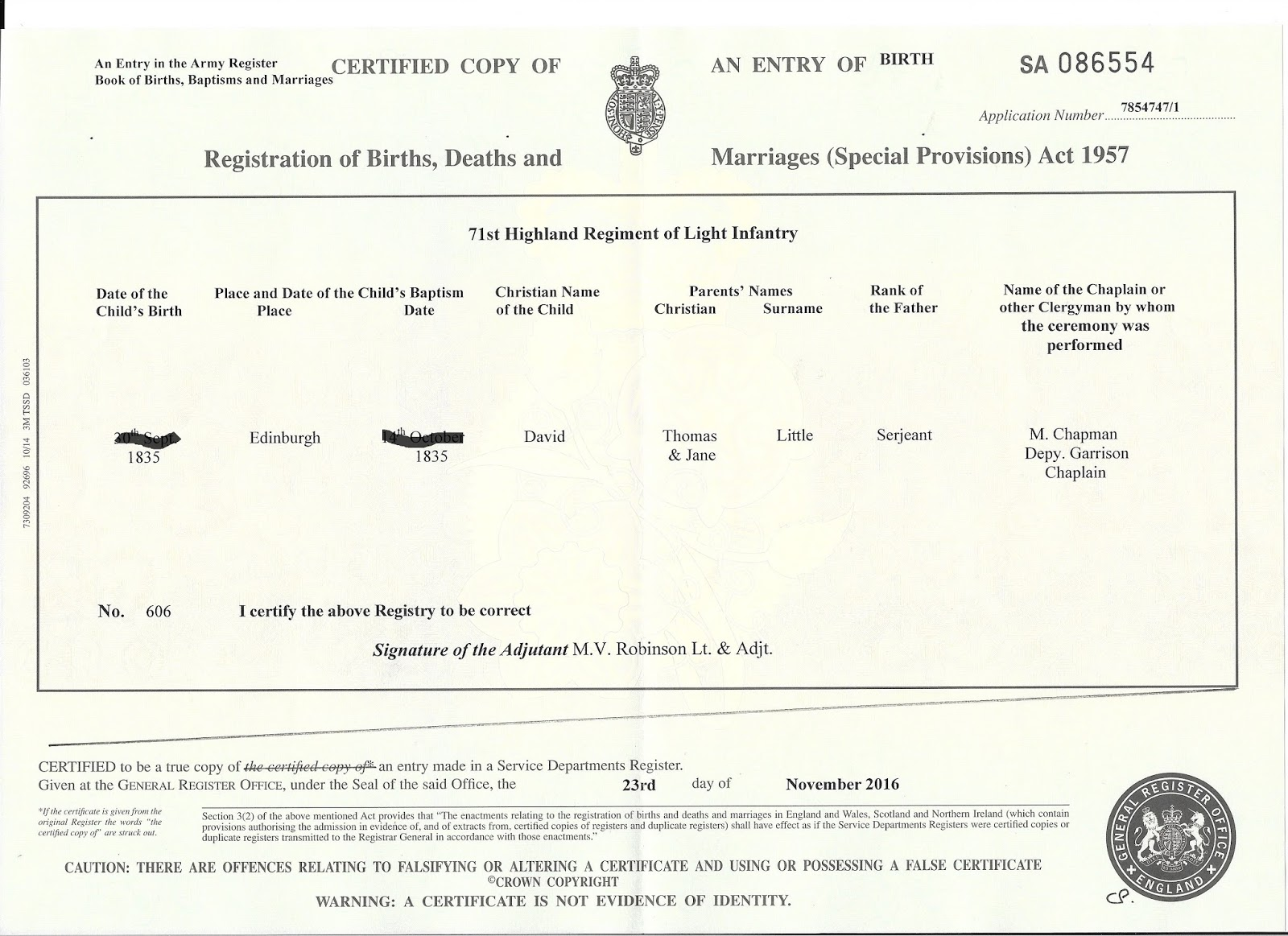 Example scottish birth certificate gallery certificate design canadas anglo celtic connections an unusual gro birth registration its a military certificate i found the aiddatafo Images