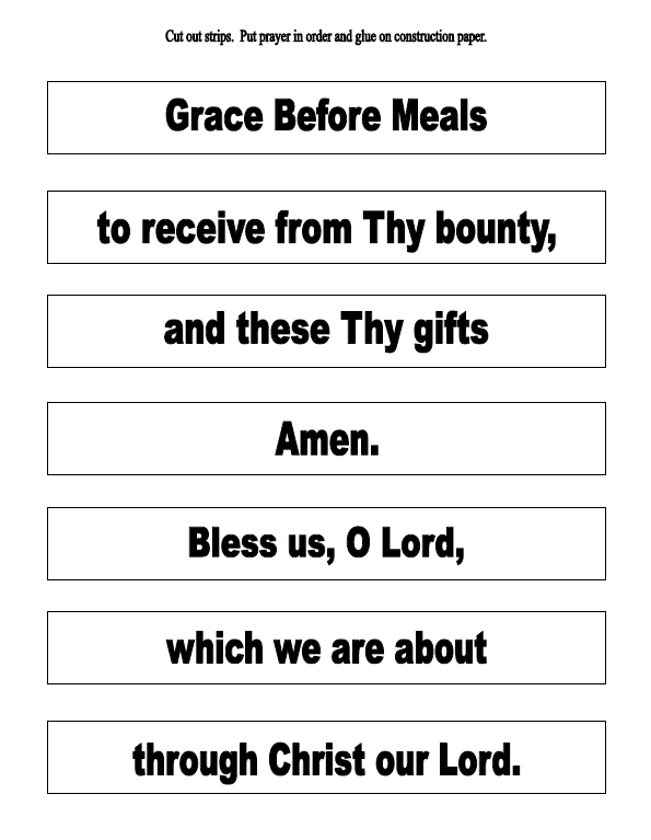 Printables Religious Worksheets the catholic toolbox grace before meals prayer activities