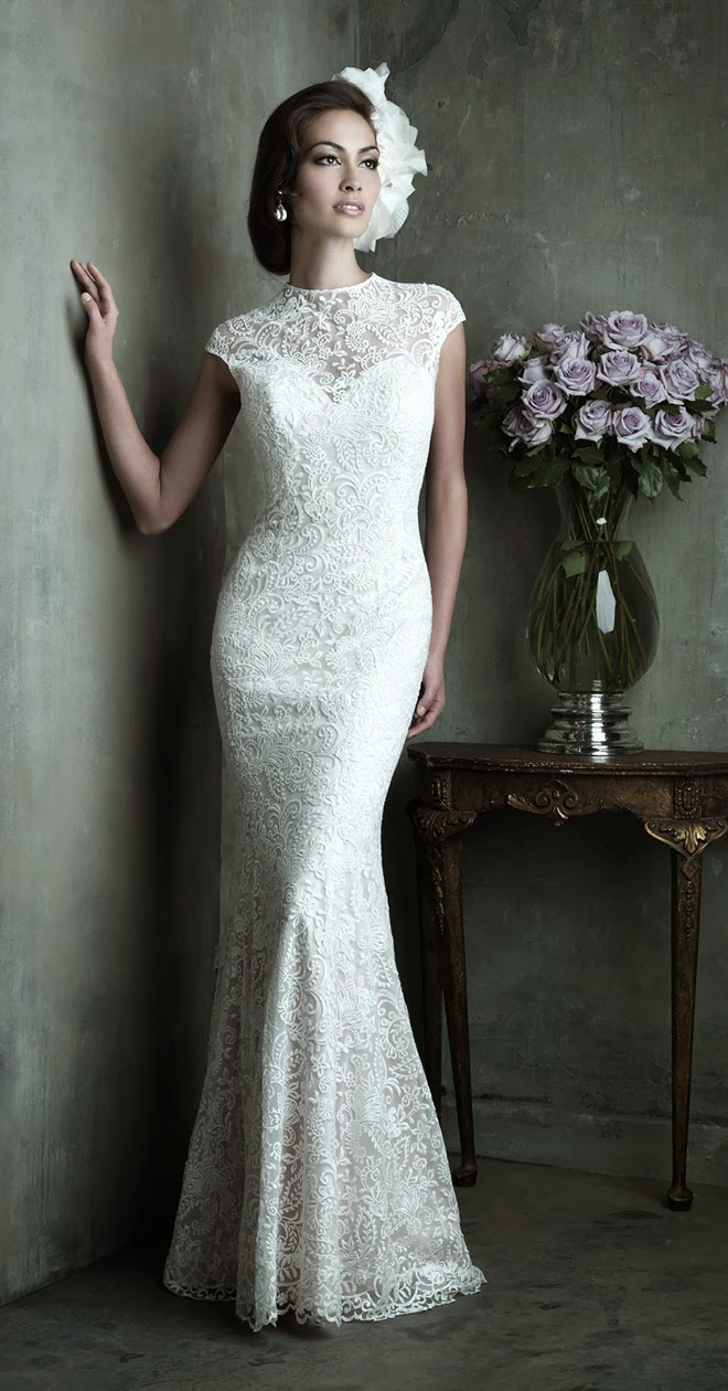 This Sophisticated Lace Wedding Dress Consists Of A Slim Fitting Charmeuse Slip And Overdress High Neckline Slight Cap Sleeves Add An Extra