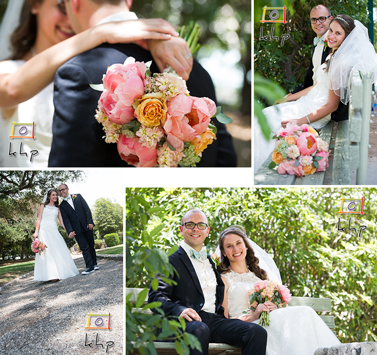 The Bride and the groom in different locations within the park they got married at