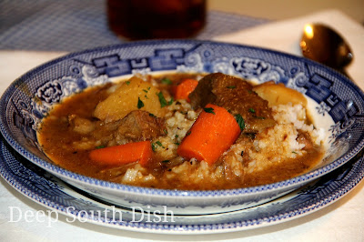 A Savory Southern Beef Stew Made From Chunks Of Seasoned Chuck Roast A Mixture Of Beef Stock And Water Loads Of Herbs Potatoes Celery And Carrots Rich