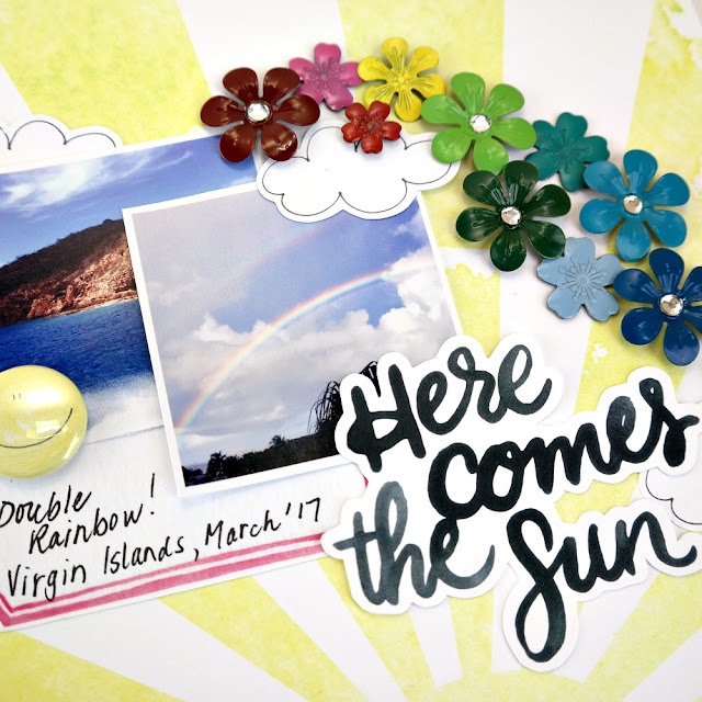 Here Comes The Sun ColoriQue Rainbow Layout by Dana Tatar for Clearsnap