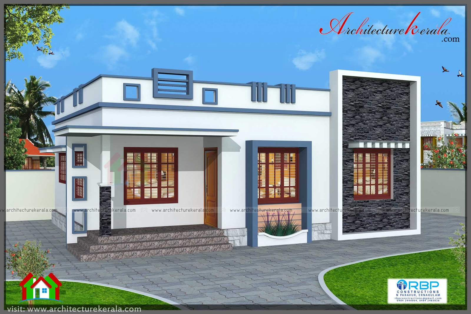760 square feet 3 bedroom house plan architecture kerala for Small three bedroom house