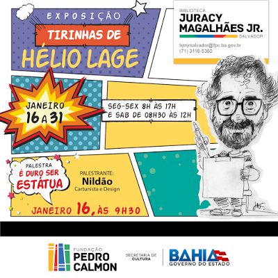 Exposição de tirinhas de Hélio Lage na biblioteca do bairro