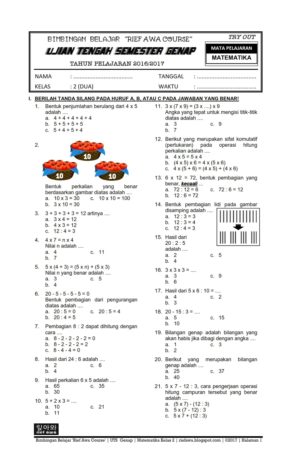 Download Soal Uts Genap Matematika Kelas 2 Sd Mi Semester 2 Terbaru Tahun 2017 Rief Awa Blog