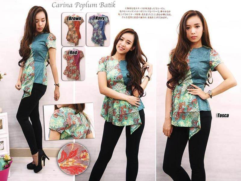 Jual Baju Batik Carina Peplum Batik Blouse - 12608