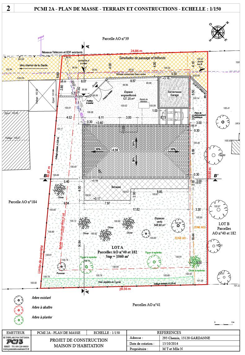 Permis de construire 13 mai 2016 - Plan en coupe terrain et construction ...