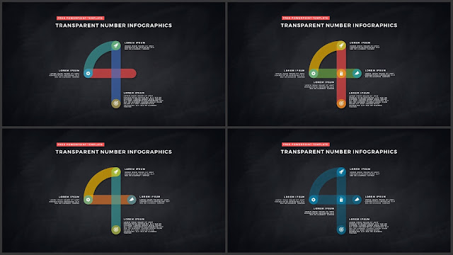 Infographic Transparent Design Elements for PowerPoint Templates in Dark background using Number 4