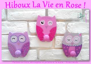 patères en bois hiboux rose coquette girly owl la vie en rose creation artisanale peint à la main